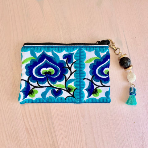 Blue embroidered flower pouch with removable Lava tassel and druzy - HOT ROCKS JEWELS