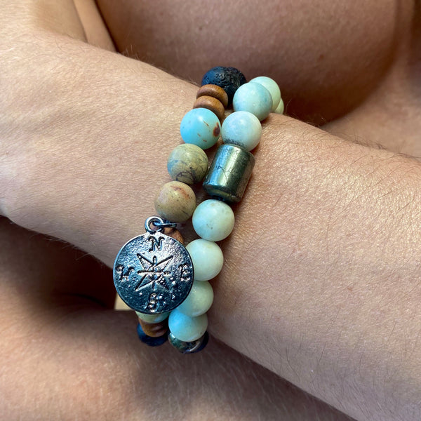 Men's Pathfinder Bracelet-    AMAZONITE - HotRocksJewels