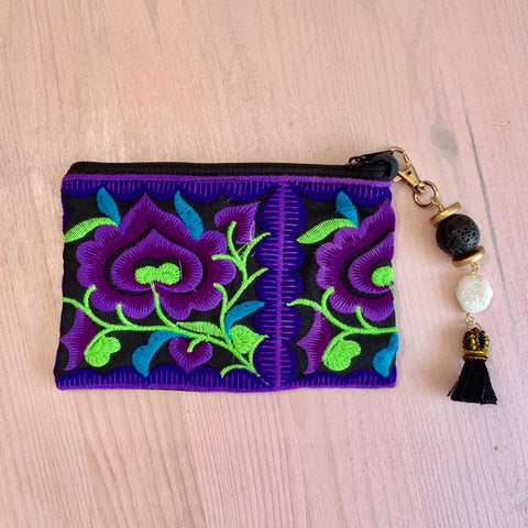 Purple embroidered flower pouch with removable Lava tassel and druzy - HOT ROCKS JEWELS