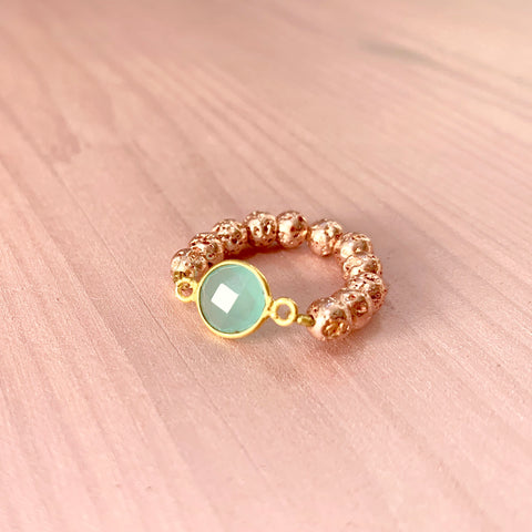 Rose Gold Luxe Lava ring with teal gemstone - HOT ROCKS JEWELS