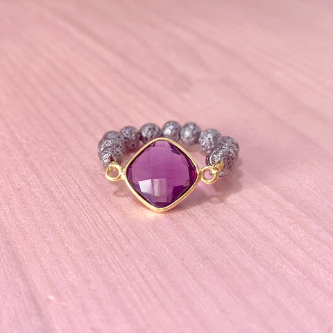 Luxe Lava ring with purple gemstone - HOT ROCKS JEWELS