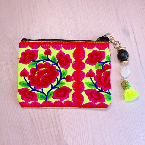 Yellow embroidered flower pouch with removable lava tassel and druzy - HOT ROCKS JEWELS