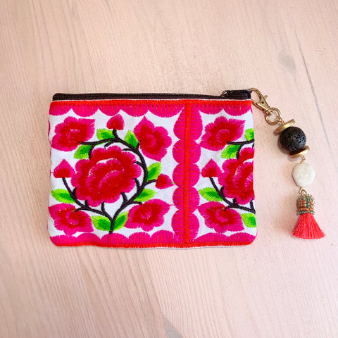 Pink embroidered Flower Pouch with removable lava tassel and druzy - HOT ROCKS JEWELS