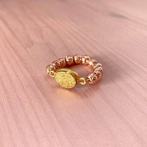 Rose gold luxe lava ring with gold druzy - HOT ROCKS JEWELS