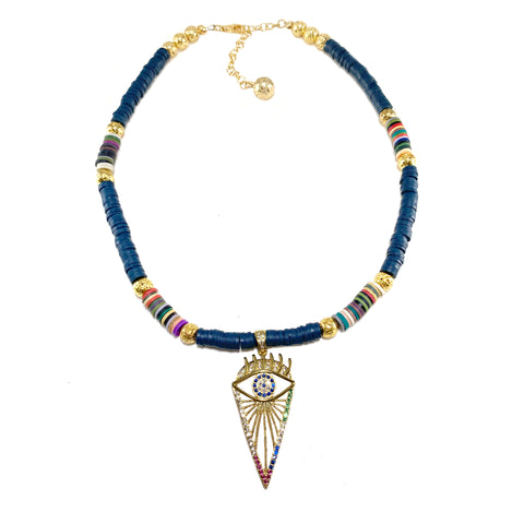 Gold pave evil eye pendant with luxe Lava and navy blue Heishi beads with multicolored accents - Isla Necklace - Hot Rocks Jewels
