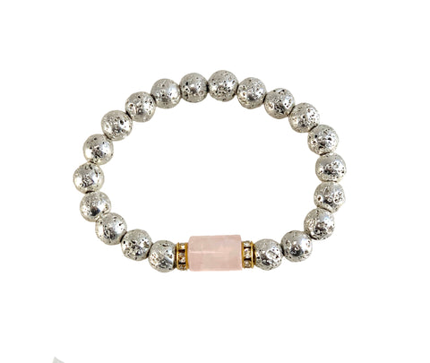 Rose Quartz Bracelet with Silver Lava - Luxe Lava Collection