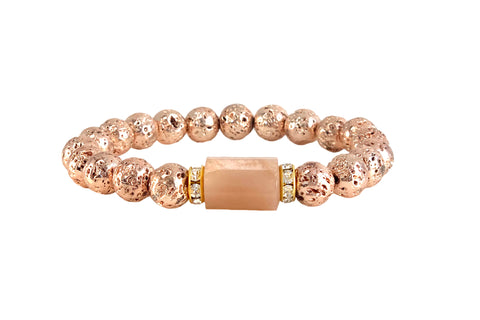 Sunstone Bracelet with rose gold lava and channel set rondelles
