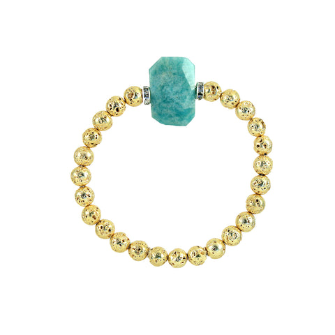 Gold plated lava bracelet with ammonite stone to bring hope and serenity. Diffuse lava rock with essential oil for aromatherapy