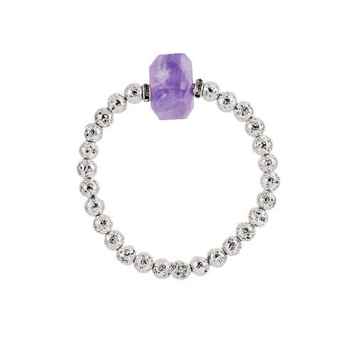 Silver plated lava bracelet with amethyst stone to bring trust and intuition. Diffuse lava rock with your favorite essential oil for aromatherapy