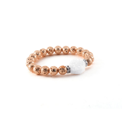 Druzy Bracelet - Rose Gold Metallic Luxe Lava with Druzy Crystal to bring Clarity - Hot Rocks Jewels