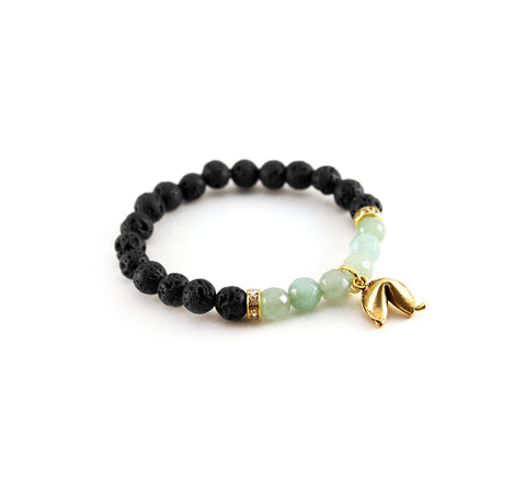 I am abundant - mantra bracelet - with lava rock and aventurine for good fortune and motivation - Hot Rocks Jewels