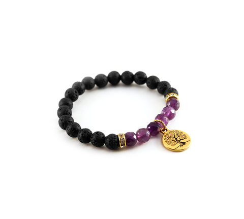 "Mantra ""I am wise"" bracelet with natural black lava rock to diffuse essential oil and amethyst stone to promote patience and intelligence - Hot Rocks Jewels"