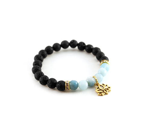 "Mantra ""I am calm"" bracelet with black lava to diffuse aromatherapy oil and amazonite to promote hope and serenity - Hot Rocks Jewels"