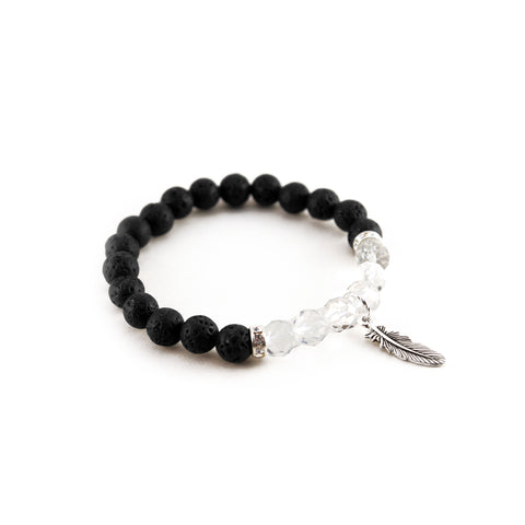 "Mantra ""I am focused bracelet with black lava to diffuse aromatherapy oil and quartz stone for clarity and calmness - Hot Rocks Jewels"