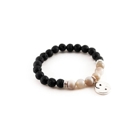 "Healing mantra ""I am balanced"" bracelet with lava rock to diffuse aromatherapy oils and grey agate to promote harmony and ease trauma - Hot Rocks Jewels"