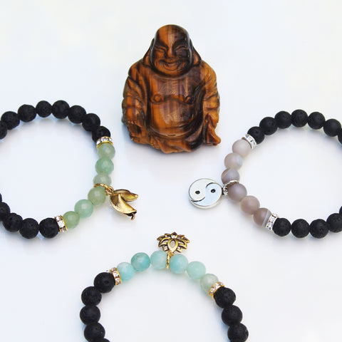 Healing mantra bracelets with semi precious gemstones and lava rock to diffuse aromatherapy oils