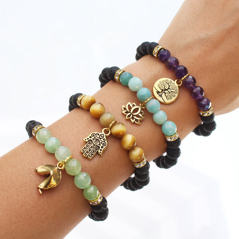 Healing mantra bracelets with beautiful semi precious gemstones and lava rock to diffuse aromatherapy oils