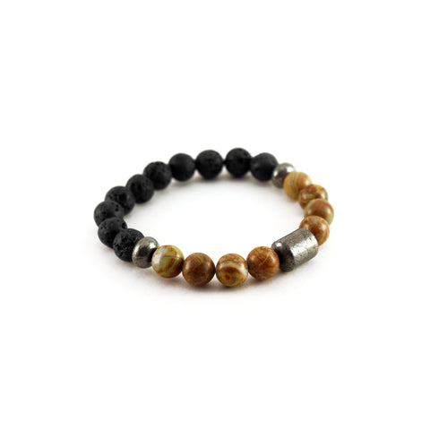 Men's Pathfinder Bracelet - WOOD JASPER - Lava Rocks with Wood Jasper gemstones to amplify visualization and confidence