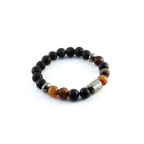 Men's Pathfinder Bracelet - BANDED AGATE - Lava Rocks and Banded Agate Gemstones to amplify calmness and wealth