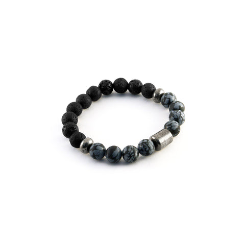 Men's Pathfinder Bracelet - SNOWFLAKE OBSIDIAN - Lava Rocks and Snowflake Obsidian gemstones to amplify balance and manifestation
