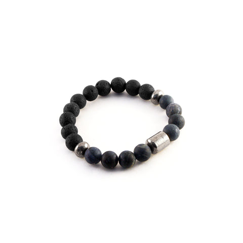 Men's Pathfinder Bracelet - DUMORTIERITE - Lava rocks and Dumortierite gemstones to amplify clarity and courage