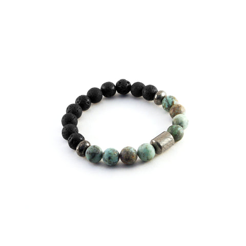 Men's Pathfinder Bracelet - AFRICAN TURQUOISE - Lava rocks and African Turquoise gemstones to amplify evolution and transformation
