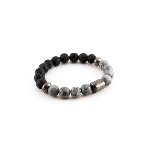 Men's Pathfinder Bracelet - Grey Jasper - Lava Rock and Grey Jasper Gemstones to amplify stability and vision