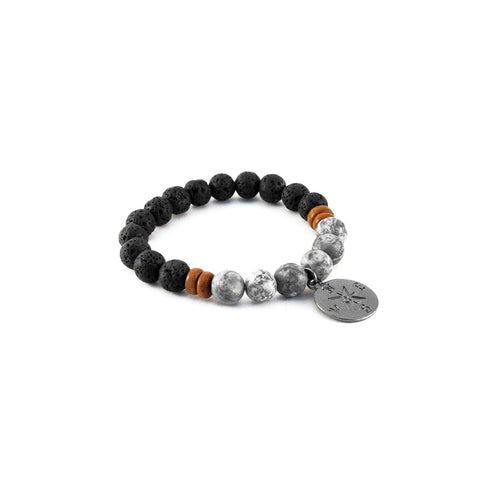 Men's Compass Bracelet - GREY JASPER - Lava rocks and Grey Jasper gemstones for stability and wisdom