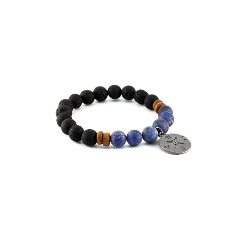 Men's Compass Bracelet - LAPIS - Lava Rocks and Rainforest Jasper Gemstones to promote calming and regenerating