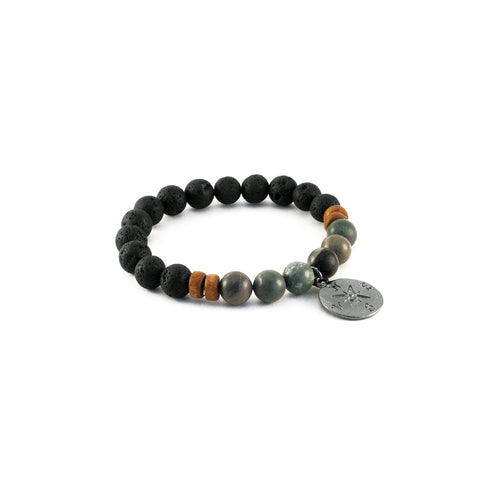 Men's Compass Bracelet - RAINFOREST JASPER - Lava Rocks and Rainforest Jasper gemstones for stability and clarity