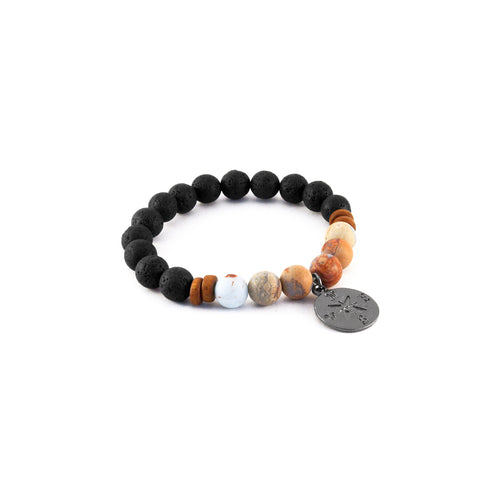 Men's Compass Bracelet - SKY JASPER - Lava Rocks with Sky Jasper gemstones for creativity and transformation