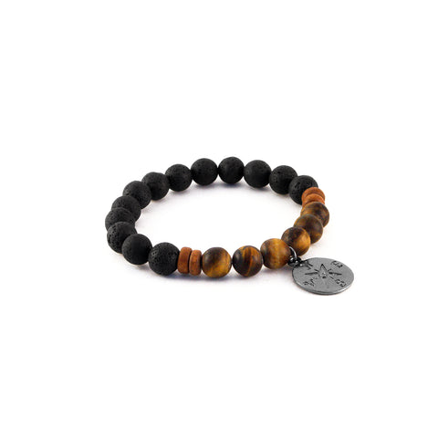 Men's Compass Bracelet - TIGER EYE - lava rocks and tiger eye gemstones for protection and confidence