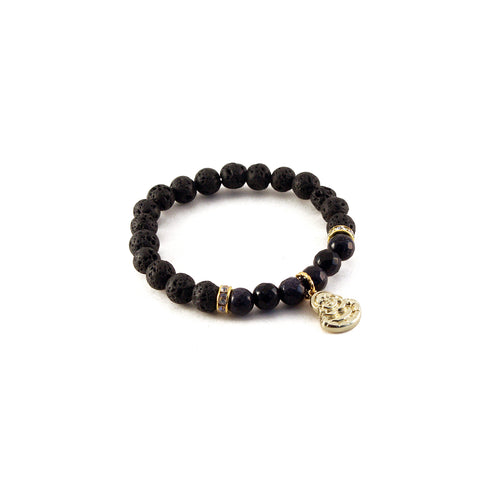 "Mantra ""I am patient"" bracelet with black lava for diffusing aromatherapy oil and blue goldstone to promote positivity and tolerance - Hot Rocks Jewels"
