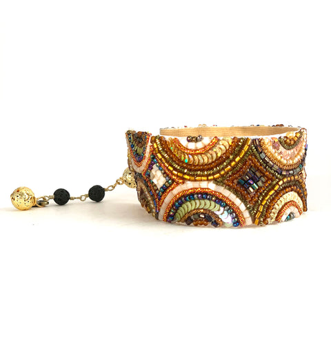 Vintage beaded and shimmering sequin soft cuff bracelet with lava rocks for diffusing essential oil