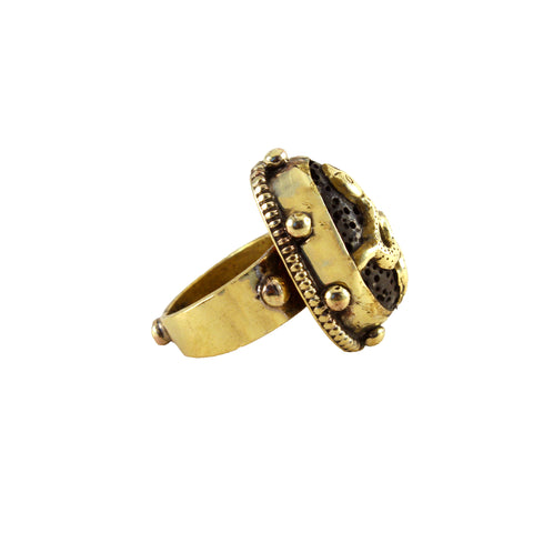 Serpent ring - brass snake ring with lava stone inlay - designed in LA, handmade in Nepal - Hot Rocks Jewels Artisan Collection