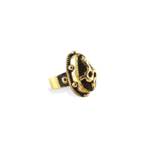 Serpent Ring - Brass snake ring with lava stone inlay - Designed in LA and handmade in Nepal - Artisan Collection