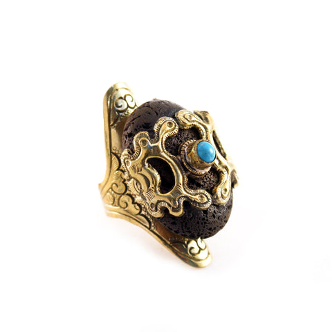 """Moses"" brass scent therapy ring with large Lava stone and Turquoise accent stone - Designed in LA and handcrafted in Nepal - Artisan Collection by Hot Rocks Jewels"