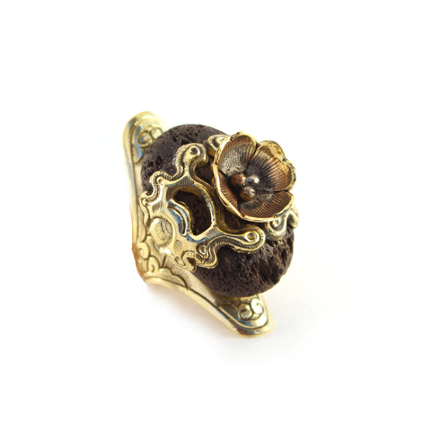 Moses brass scent therapy ring with large Lava stone and bronze flower accent - Designed in LA and handcrafted in Nepal - Artisan Collection by Hot Rocks Jewels