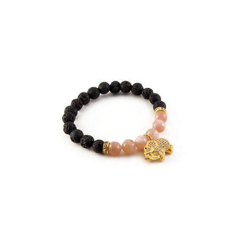 "Mantra ""I am strong"" bracelet with sunstone to promote courage and black lava to diffuse essential oil - Hot Rocks Jewels"