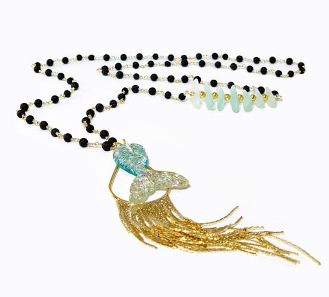 Tail Necklace - Mermaid Collection - Black Lava rosary chain with colorful fishbone style accent and glitter bomb mermaid tail pendant with gold tassel