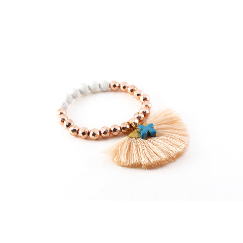 Dani bracelet with Cream Lava, Rose Gold Hematite, and Turquoise Howlite Cross with Silk Fan - Silk Road Collection