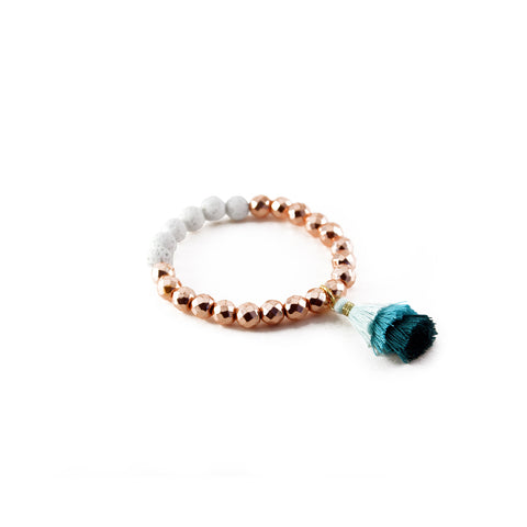 Tula Bracelet with Cream Lava, Rose Gold Hematite and layered silk tassel - Silk Road Collection