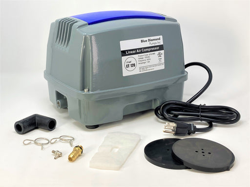 Blue Diamond ET120+ Plus - Septic or Pond Linear Diaphragm Air Pump with FREE additional Air Filter
