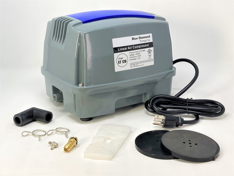 Blue Diamond ET120+ Plus - Septic or Pond Linear Diaphragm Air Pump with FREE additional Air Filter - Wastewater Pro