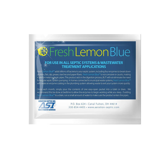 Fresh Lemon Blue Septic Tank System Treatment - Contains All Natural & Safe Enzymes And Bacteria - Wastewater Pro