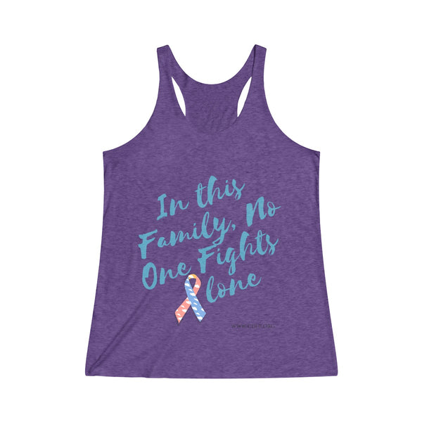 """In This Family, No One Fights Alone"" CDH Awareness Women's Tri-Blend Racerback Tank - CDH International"