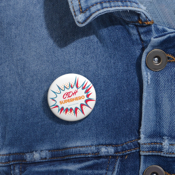 """BAM! CDH Superhero"" Pin Buttons"