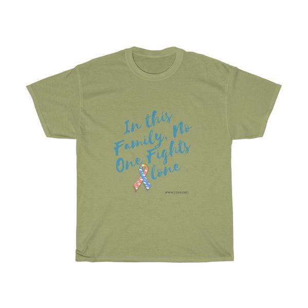 """In This Family, No One Fights Alone"" CDH Awareness Unisex Cotton Tee - CDH International"