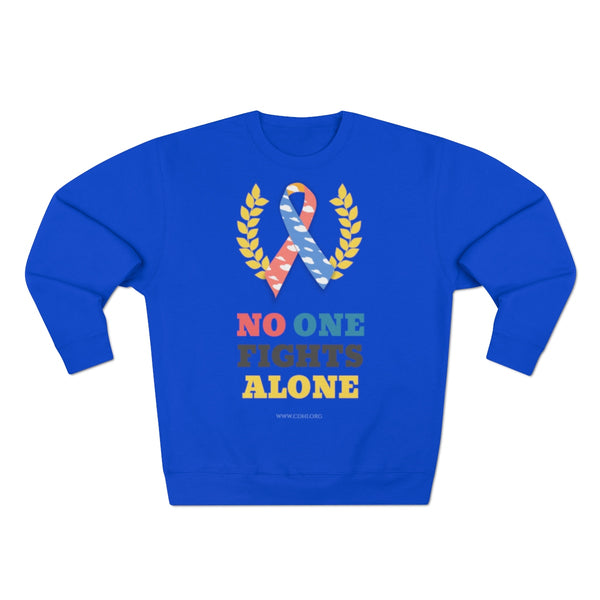 """No One Fights Alone"" CDH Awareness Unisex Premium Crewneck Sweatshirt (UK Printing) - CDH International"