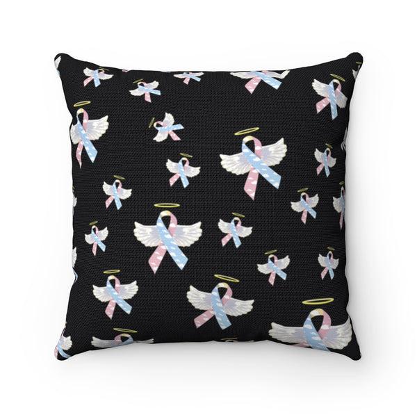 """Winged CDH Awarness Ribbon"" Spun Polyester Square Pillow"